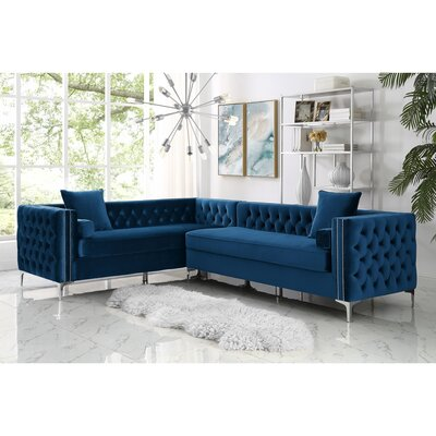 Kaufman Reversible Sectional Upholstery: Navy Blue, Orientation: Right