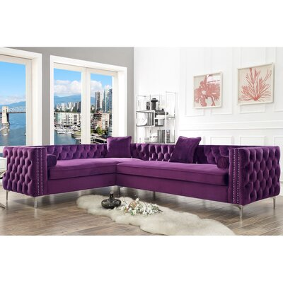 Kaufman Reversible Sectional Upholstery: Purple, Orientation: Right