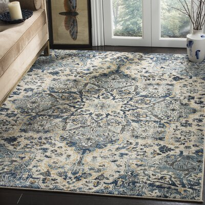 Manton Navy/Ivory Area Rug Rug Size: Runner 2 x 10