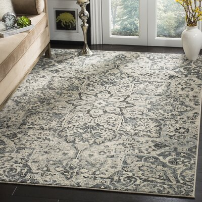 Manton Gray/Ivory Area Rug Rug Size: Rectangular 51 x 76
