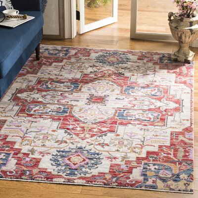 Marable Cream/Red Area Rug Rug Size: Rectangular 4 x 6