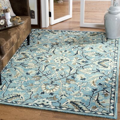 Homestead Hand-Woven Wool Blue Area Rug Rug Size: Square 6