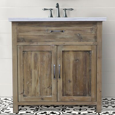 Kwon 36 Single Bathroom Vanity Set Top Finish: Carrara Marble