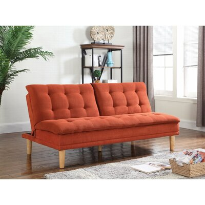 Dubreuil Tufted Modern Convertible Sofa Upholstery: Orange