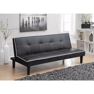 Monitor Convertible Sofa Size: 14 H x 38 W x 67 D, Upholstery: Black