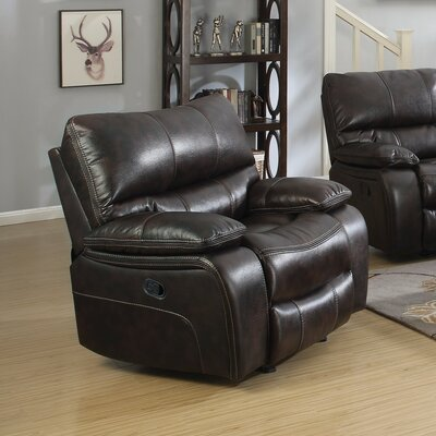 Amenta Supremely Relaxing Manual Glider Recliner Upholstery: Brown