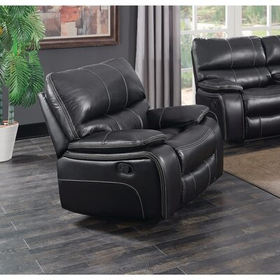 Amenta Supremely Relaxing Manual Glider Recliner Upholstery: Black