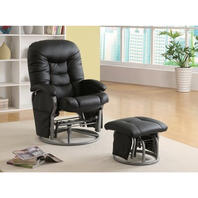 Dewells Stylishly Sophisticated Glider Manual Swivel Recliner with Ottoman