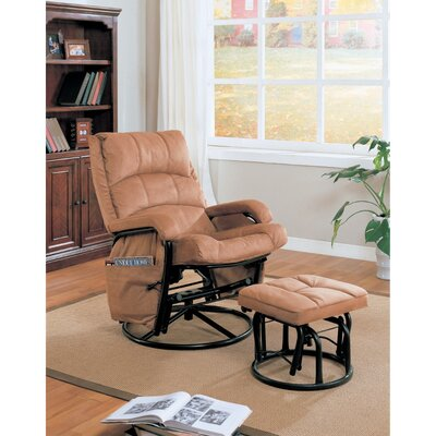 Zismer Downrightly Relaxing Glider Manual Swivel Recliner with Ottoman
