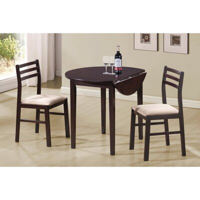 Karlov Casual Wooden 3 Piece Extendable Breakfast Nook Dining Set
