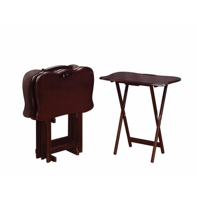 Emest 5 Piece Solid Wood Tray Table Set Color: Dark Brown