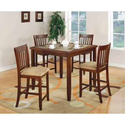 Keenum 5 Piece Counter Height Dining Set with Marble Top