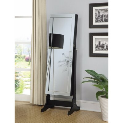 Sophisticated Jewellery Cheval Mirror With Interior Storage, Black