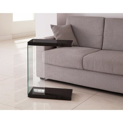 Fiorito Sleek Wood and Glass Snack End Table