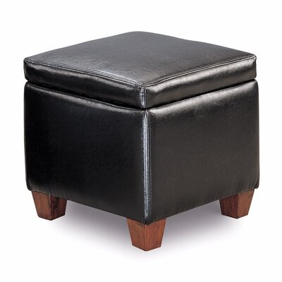 Isakson Leather Storage Ottoman Upholstery: Black