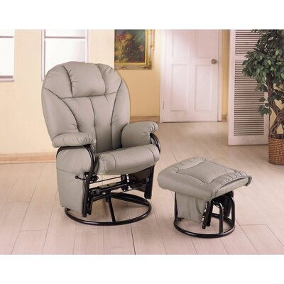 Tummala Leather Manual Glider Recliner with Ottoman