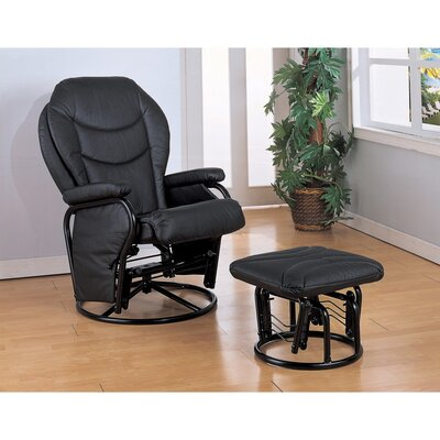 Tapp Leather Manual Glider Recliner with Ottoman