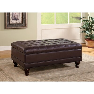 Cluff Tufted Leather Ottoman