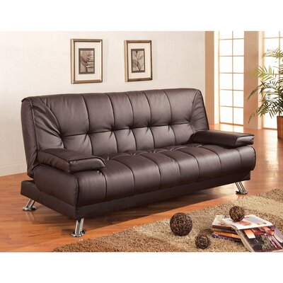 Zeidler Comfy Faux Leather Convertible Sofa