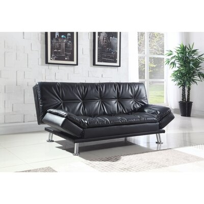 Valerius Convertible Sofa Size: 17.5 H x 73 W x 46 D, Upholstery: Black