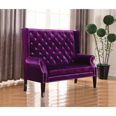 Luxurious Button Tufted Extra Tall Winged Settee Upholstery: Purple
