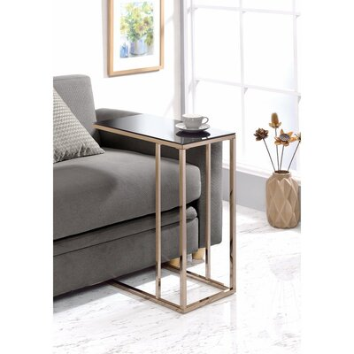 Jara Elegant Black Glass Top Snack End Table