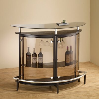 Teeken Bar with Wine Storage Color: Smoked/Brown