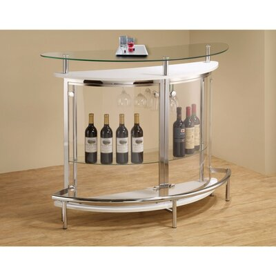 Teeken Bar with Wine Storage Color: Clear/White