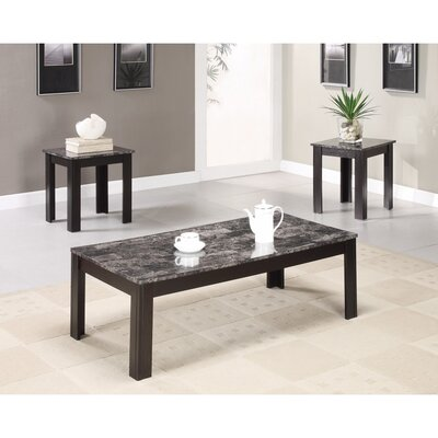 Colena Impressive 3 Piece Coffee Table Set Color: Black