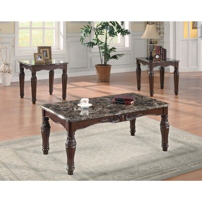 Elsha Faux Marble 3 Piece Coffee Table Set