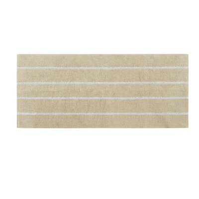 Lessman Cotton Tufted Striped Bath Rug Size: 21 H x 34 W, Color: Taupe/Blue