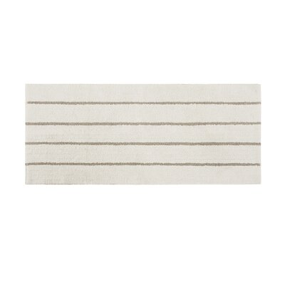 Lessman Cotton Tufted Striped Bath Rug Size: 24 H x 60 W, Color: Ivory/Khaki