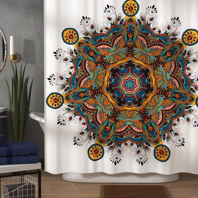 Nell Oriental Mandala Pattern With Several Exquisite Colors Cultural Tribal Boho Shower Curtain Size: 69 W x 75 H