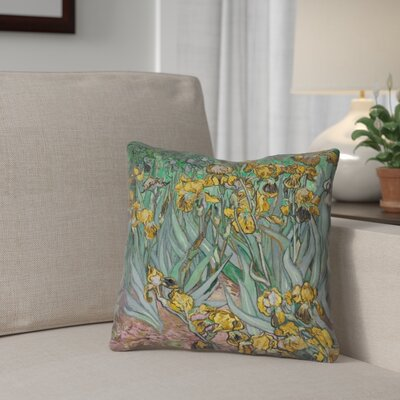 Bristol Woods Irises Double Sided Print Pillow Cover Color: Yellow, Size: 14 x 14