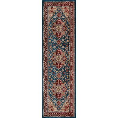 Ebner Blue/Red Area Rug Rug Size: Runner 23 x 8