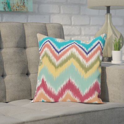 Brookeville Ikat Chevron Print Throw Pillow Size: 16 H x 16 W x 1 D, Color: Caribbean