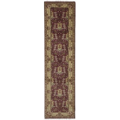 One-of-a-Kind Li Hand Knotted Wool Burgundy Area Rug Rug Size: Runner 27 x 10