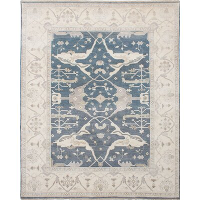 One-of-a-Kind Li Hand Knotted Wool Gray/Blue Area Rug
