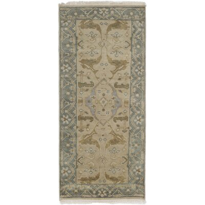 One-of-a-Kind Li Hand Knotted Wool Khaki Area Rug
