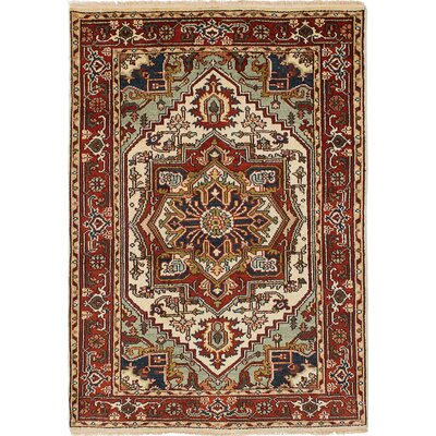 One-of-a-Kind Briggs Hand Knotted Wool Cream/Red Area Rug