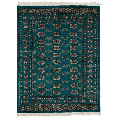 One-of-a-Kind Onondaga Hand Knotted Wool Teal Area Rug