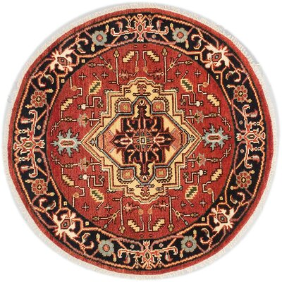 One-of-a-Kind Briggs Hand Knotted Wool Dark Copper Area Rug Rug Size: Round 40x40