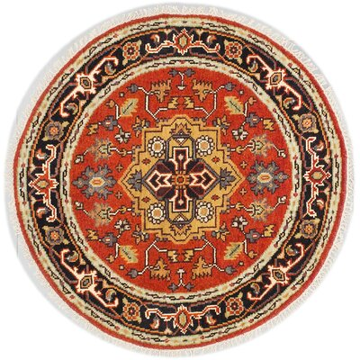 One-of-a-Kind Briggs Hand Knotted Wool Dark Orange Area Rug