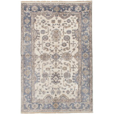 One-of-a-Kind Monahan Hand Knotted Silk Cream Area Rug