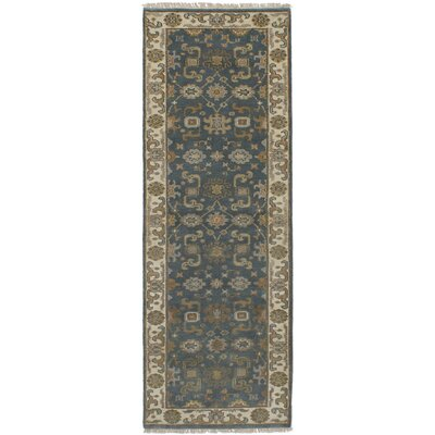 One-of-a-Kind Li Hand Knotted Wool Turquoise Area Rug