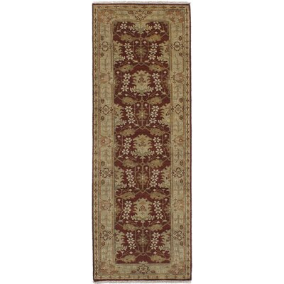 One-of-a-Kind Li Hand Knotted Wool Burgundy Area Rug Rug Size: Runner 28 x 71