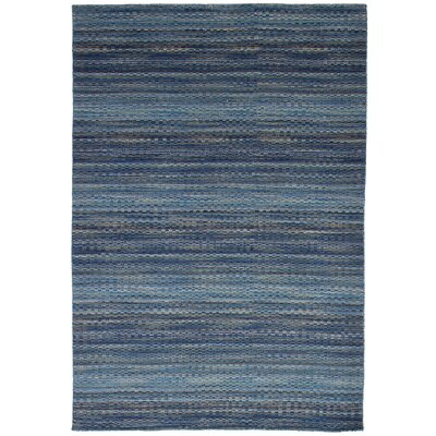 One-of-a-Kind Crider Hand Knotted Wool Blue Area Rug