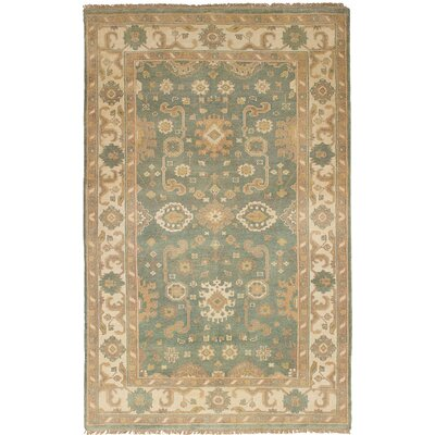 One-of-a-Kind Li Hand Knotted Wool Light Teal Area Rug