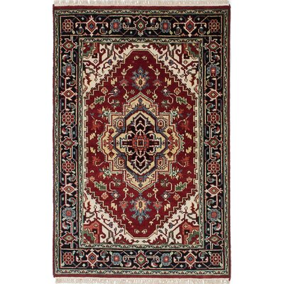 One-of-a-Kind Briggs Hand Knotted Wool Black/Red Area Rug
