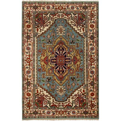 One-of-a-Kind Briggs Hand Knotted Wool Cream/Turquoise Area Rug